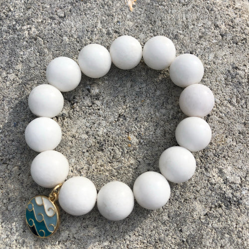 14mm White Jade with Enamel Wave Cham