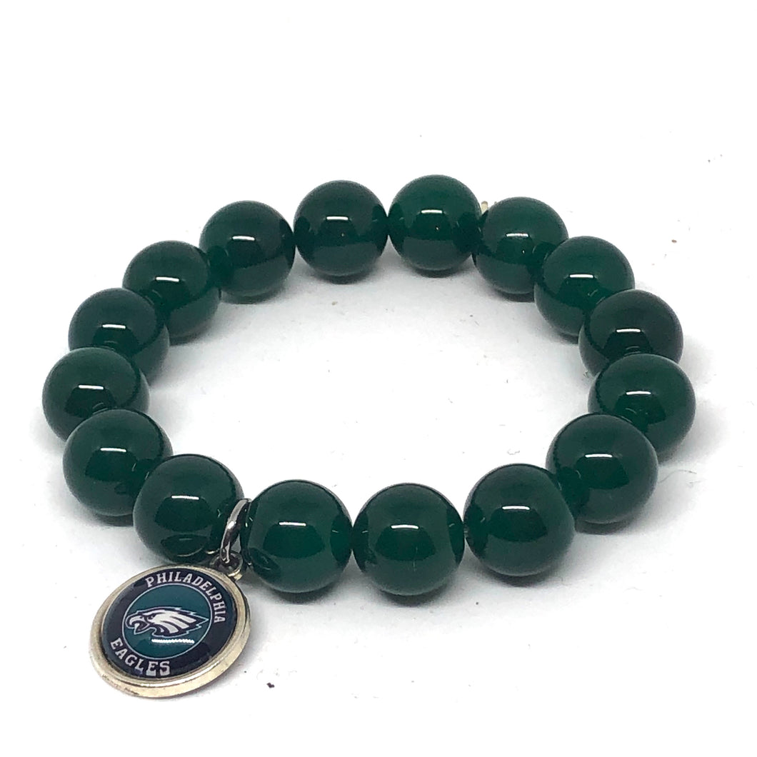 12mm Green Agate Eagles Bracelet