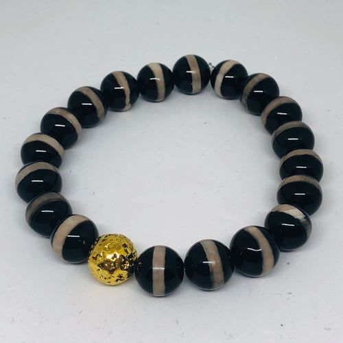 10mm Black Stripe Tibetan Agate with 14K Gold-Plated Lava Bead