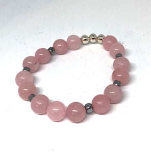 Rose Quartz and Silver Accent Layering Bracelet