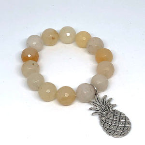 14mm Yellow Jade with Silver Pineapple Medal