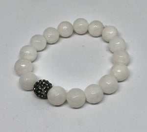 12mm Powder White Jade with a Black Diamond Pave