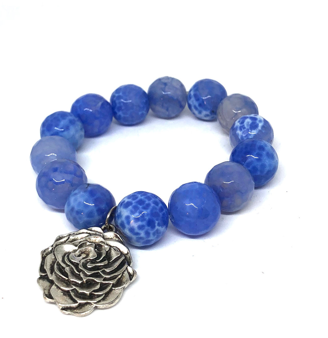 14mm Cornflower Agate with Silver Flower