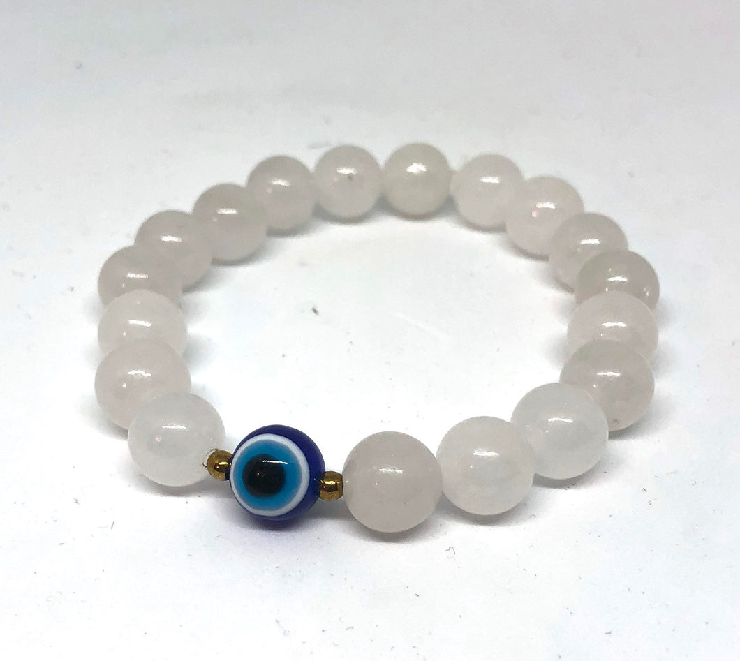 10mm Pale White Quartz Protection Bracelet (gold)