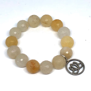 14mm Yellow Jade with Silver Lotus
