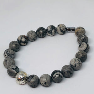 10mm Gray Map Jasper with Silver-Plated Lava Bead