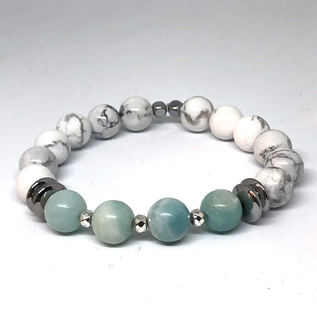 Howlite and Amazonite Indie Bracelet