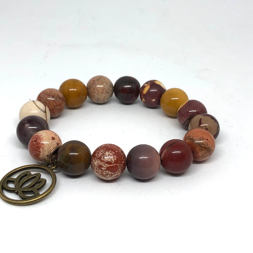 12mm Mookaite Jasper with Bronze Lotus