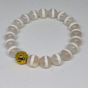 10mm White Stripe Tibetan Agate with 14K Gold-Plated Lava Bead