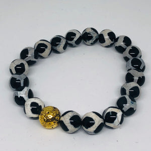 10mm Black & White Tibetan Agate with 14K Gold-Plated Lava Bead