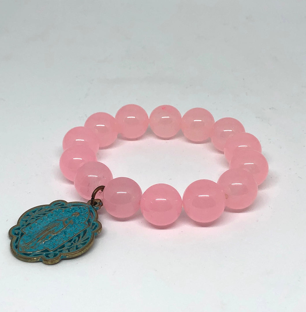 14mm Pink Jade with Patina Blessed Mother Medal