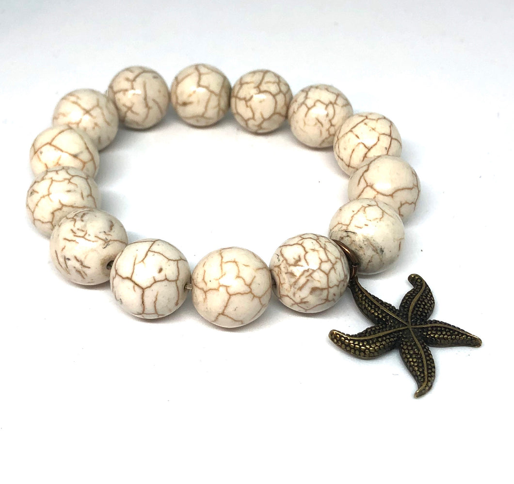 14mm Natural Howlite with Bronze Star Fish