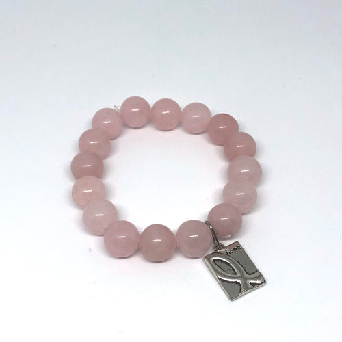 12mm Rose Quartz with Awareness Ribbon