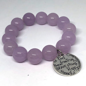 14mm Lavender Jade with Kind Heart Medal