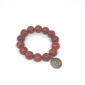 14mm Red Coral Jasper with Lion Head Medal