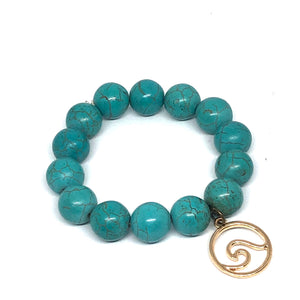 14mm Turquoise Howlite with Brass Wave