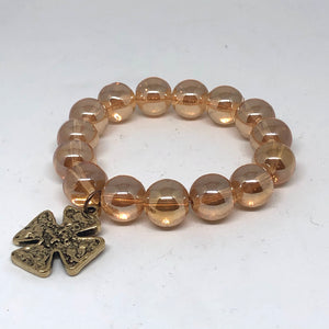 14mm Champagne Quartz and Golden Rustic Medal