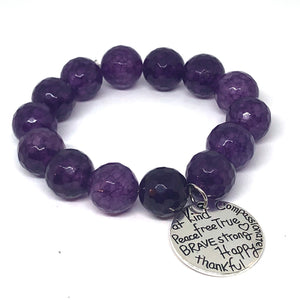 14mm Purple Jade with Kind Heart Medal