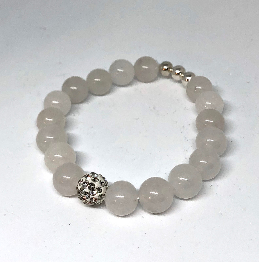 Pale White Agate and Crystal Pave Bracelet