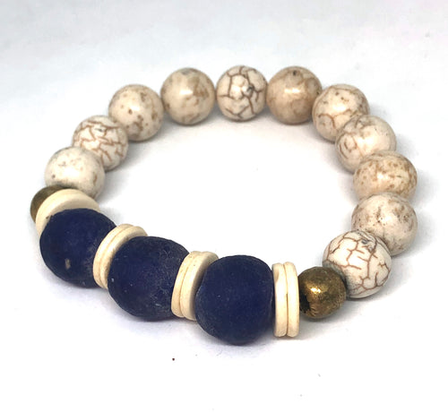 Cobalt Glass and Howlite with African Brass