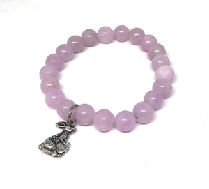 8mm Lilac Jade with Silver Bunny