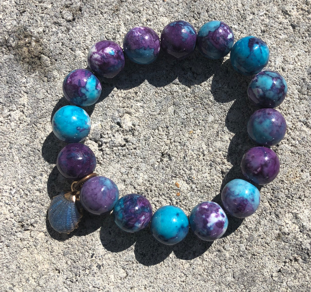 12mm Blue & Purple Watercolor Jade with Shell