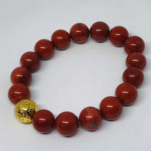 12mm Red Jasper with Gold-Plated Lava Bead