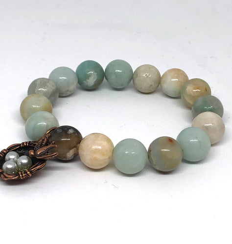 12mm Amazonite with Bronze Bird's Nest