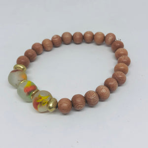 Recycled Glass and Rosewood Diffuser Bracelet