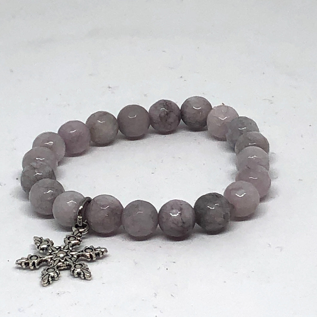 8mm Dove Gray Jade with Snowflake