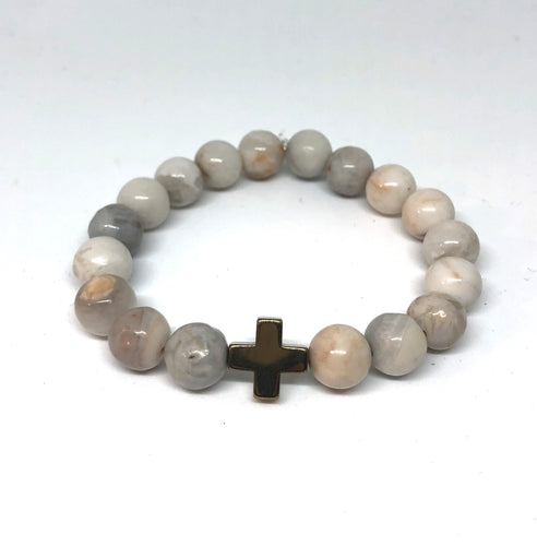 Dove Agate and Champagne  Hematite Cross Hope Collection Bracelet