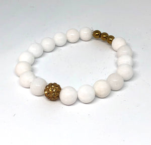 White Jade and Gold Pave Bracelet