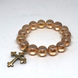 14mm Champagne Quartz with Brass Cross