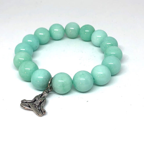 12mm Amazonite Jade with Silver Yogi