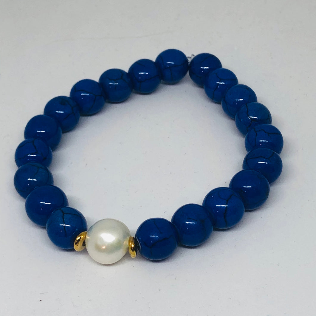 Blue & White Collection Blue Howlite and Fresh Water Pearl