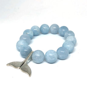14mm Aquamarine Agate with Silver Whale Tail