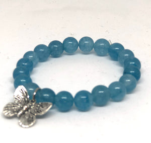 8mm Sea Blue Jade with Butterfly