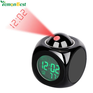 LCD Display Digital Projection Voice Alarm Clock Support Backlight Snooze Function Cube LED Desk Clock Display Time Thermometer