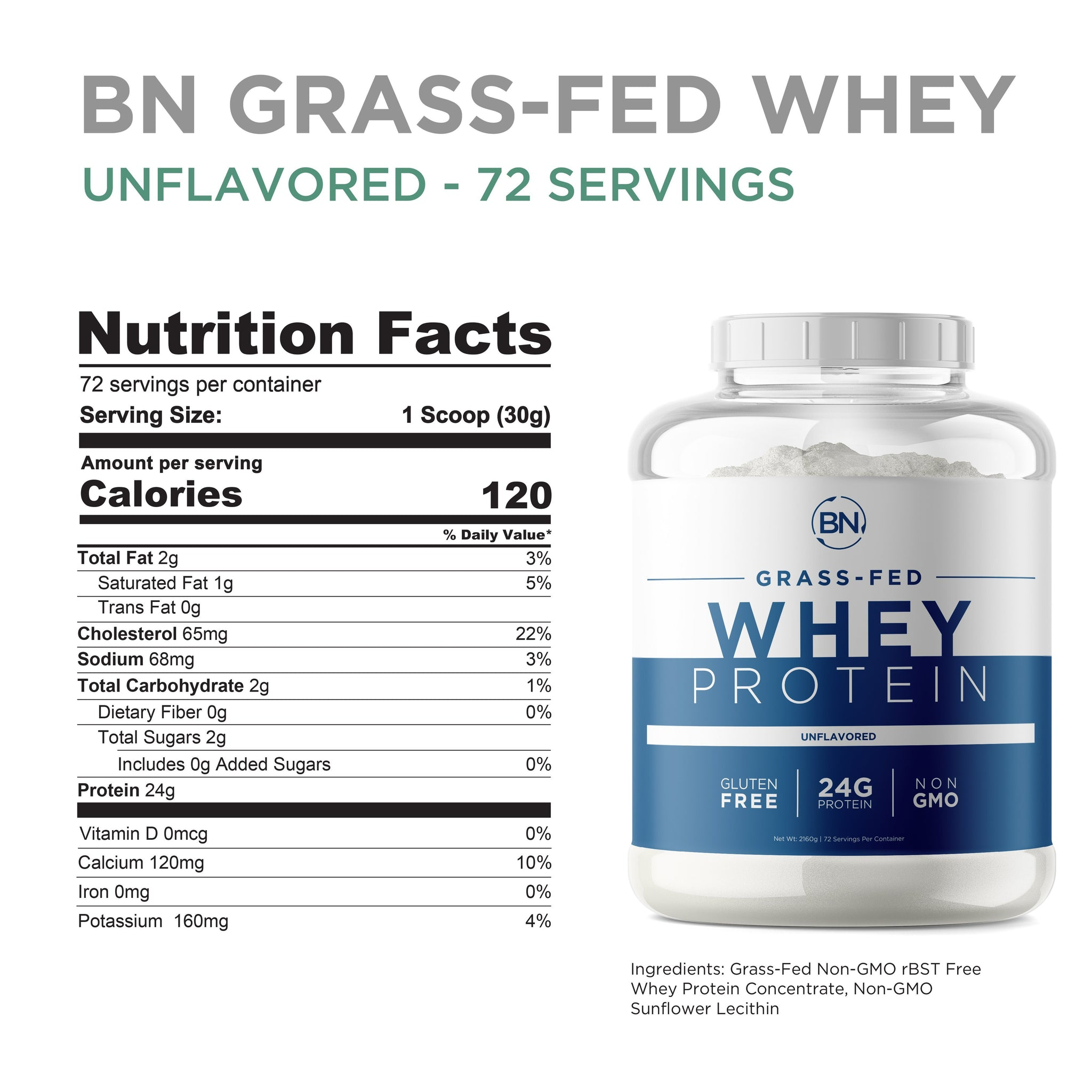 Grass Fed Whey 5lb Protein BN-Labs
