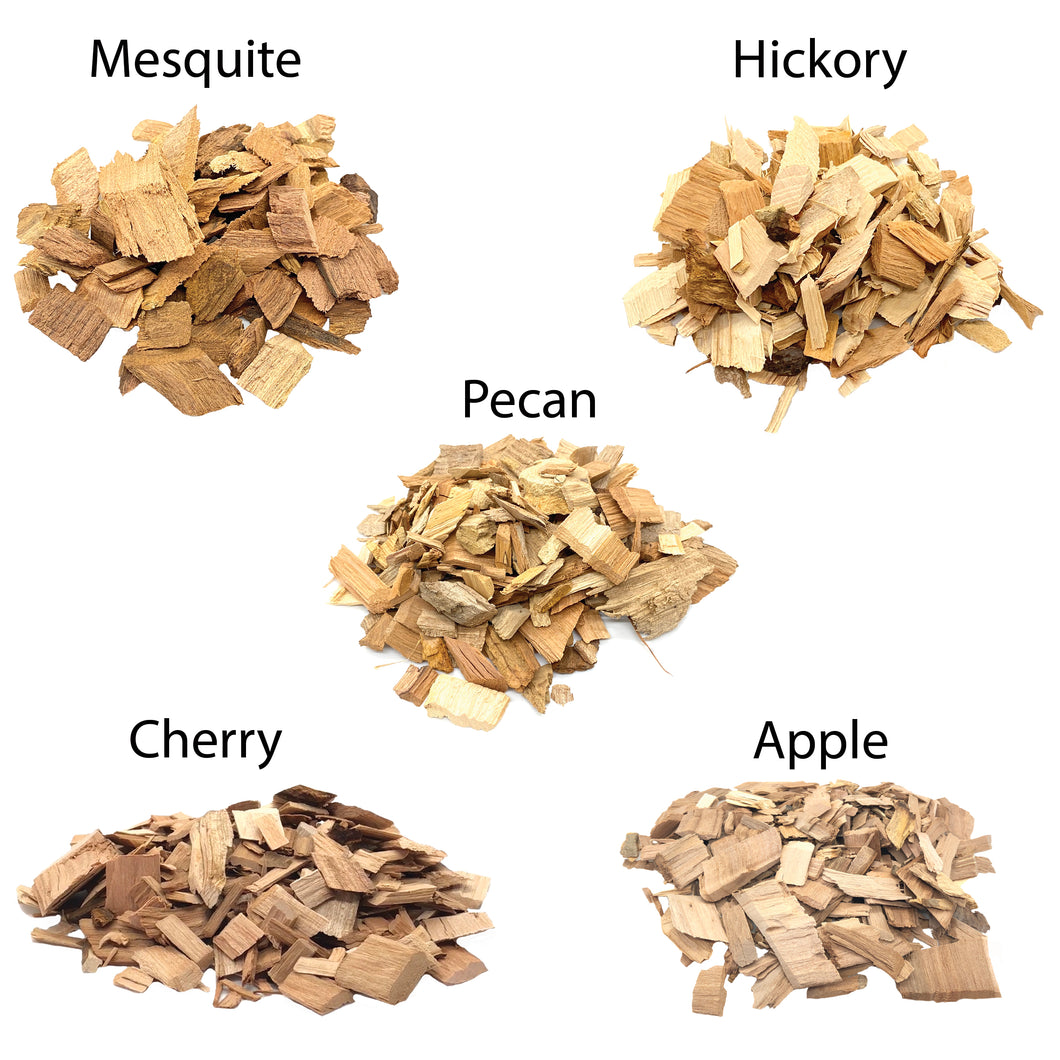 5 Flavor Pack BBQ Smoking Chips 100% Natural (Apple, Hickory, Mesquite, Cherry & Pecan)