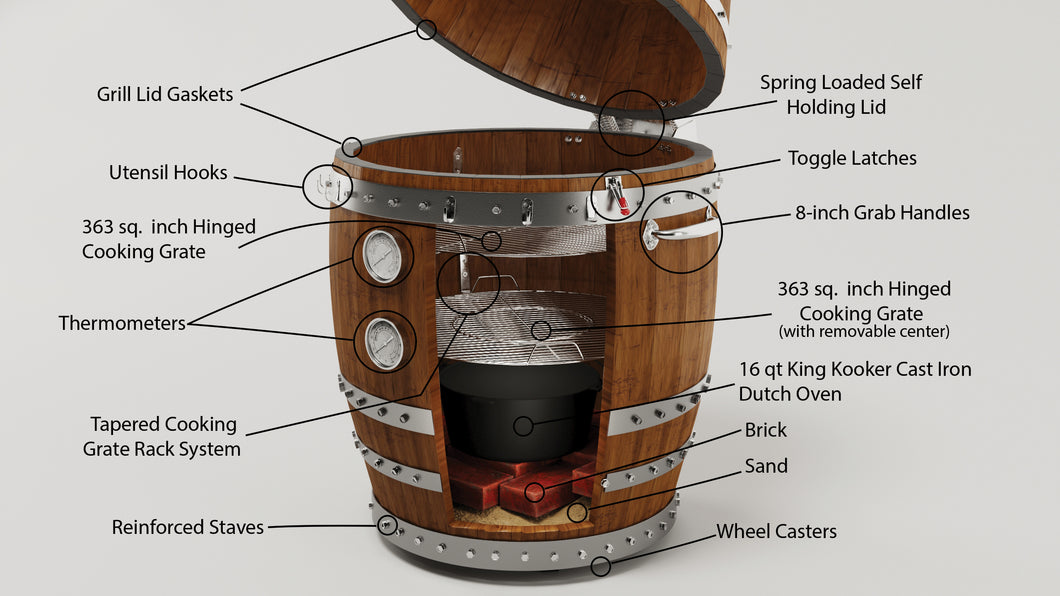 Big Dawg Smokers Handcrafted Wine Barrel Smoker (Connoisseur Model)