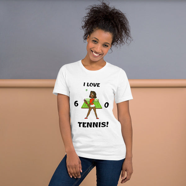 """Tennis Girl"" (Ebony) Short-Sleeve Ladies Tennis Tee"
