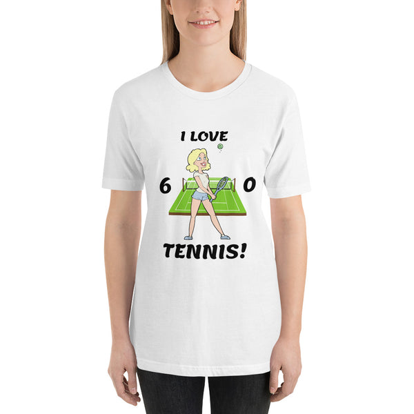 """Tennis Girl"" (Blonde) Short-Sleeve Ladies' Tennis Tee"