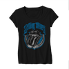 Rolling Stones Blue Light Tongue Logo - Mens Black T-Shirt