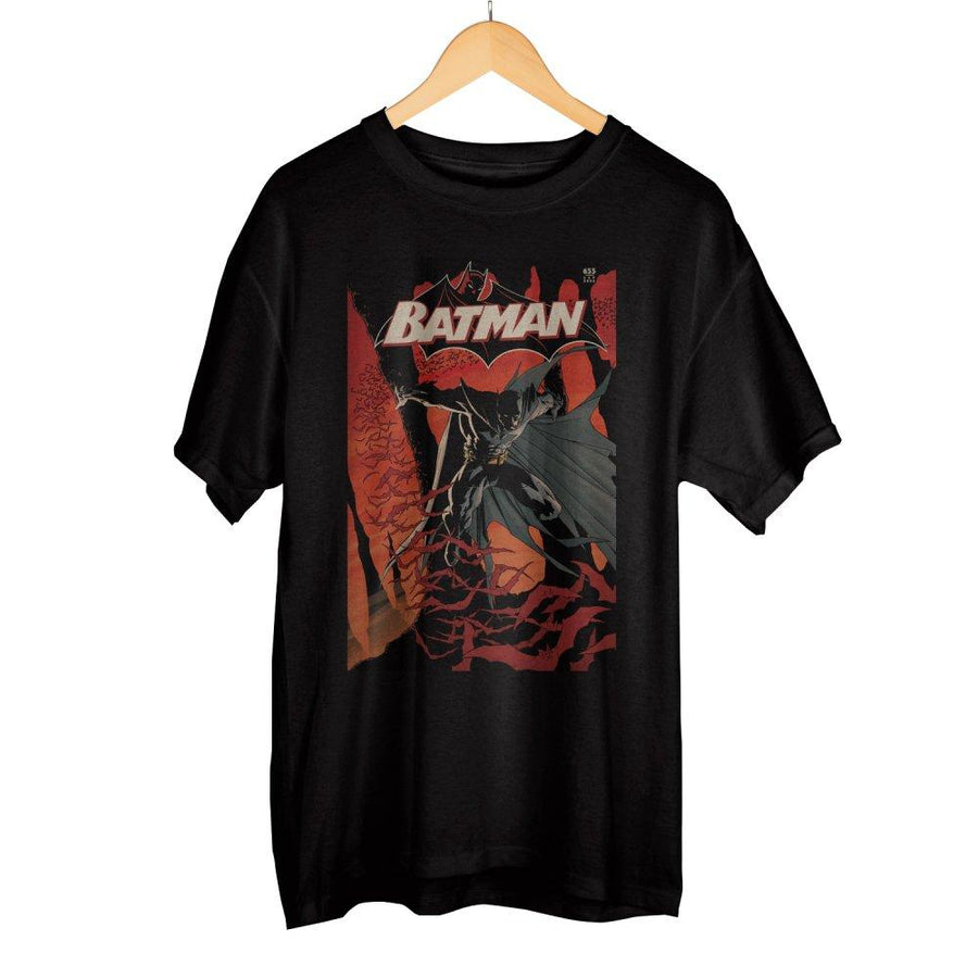 0165f27c1 Classic Batman DC Comic Book Cover Artwork Men's Black Graphic Print Boxed Cotton  T-Shirt