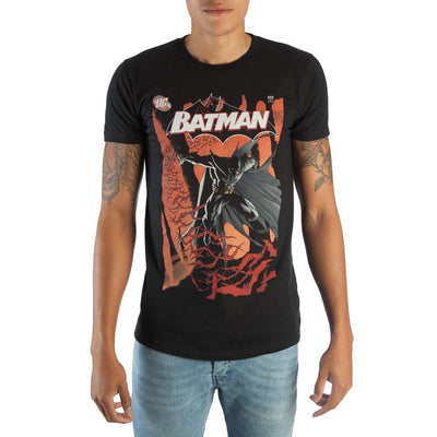 Classic Batman DC Comic Book Cover Artwork Men's Black Graphic Print Boxed Cotton T-Shirt