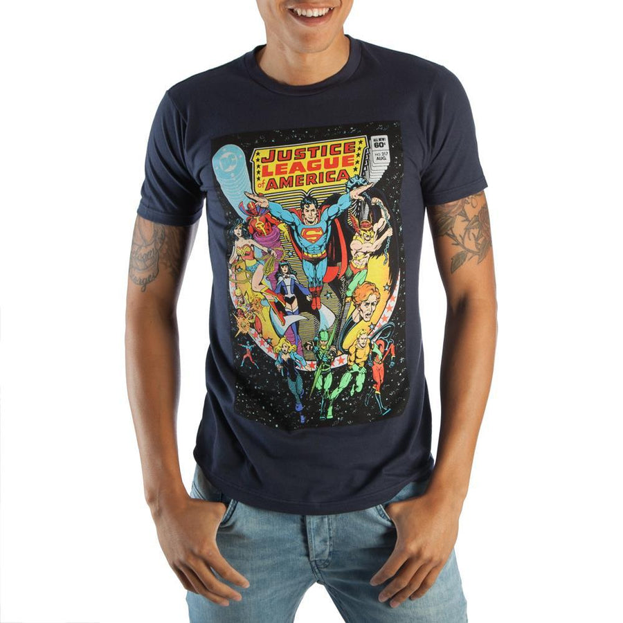 Classic Justice League DC Comic Book Cover Artwork Men's Navy Blue Graphic Print Boxed Cotton T-Shirt