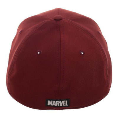 Marvel Deadpool Red Logo Flatbill, Black Patch Insignia with Stitching, Merc With A Mouth