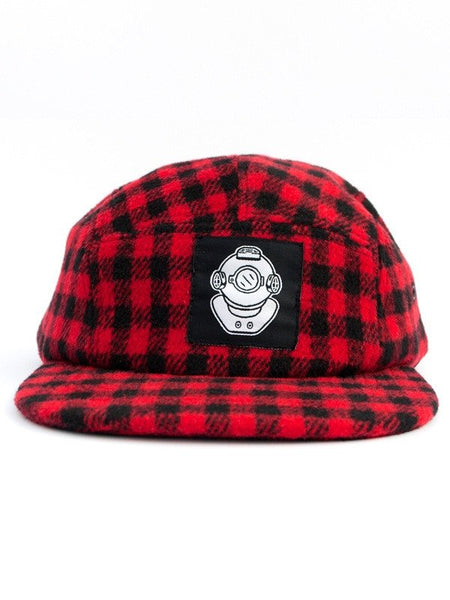 Diver Head Red Flannel 5 Panel Hat