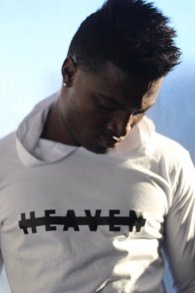 "Six Rings Euro Zipper Long Sleeve Hooded Tee ""Heaven"" - White"